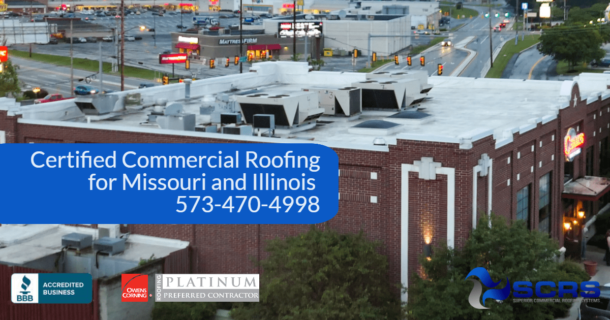 A large restaurant business a waterproof white roof by SCRS certified commercial roofing for Missouri and Illinois with phone number