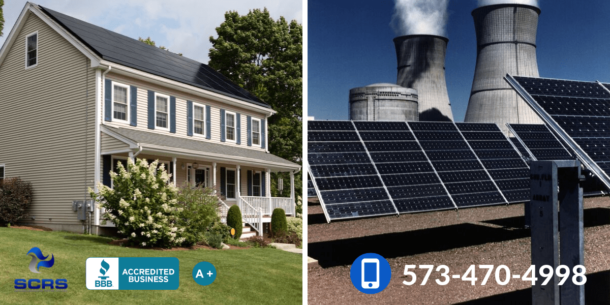 Comparison of solar panel roofing on a slanted residential roof and a flat commercial roof